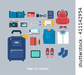 time to travel vector flat... | Shutterstock .eps vector #411142954