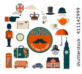 set of vector flat style london ... | Shutterstock .eps vector #411142999