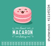 fun cartoon macaron. bakery and ... | Shutterstock .eps vector #411145234