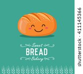 fun cartoon bread. bakery and... | Shutterstock .eps vector #411145366