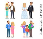 happy family vector... | Shutterstock .eps vector #411150130
