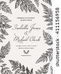 vintage wedding invitation in a ... | Shutterstock .eps vector #411156958