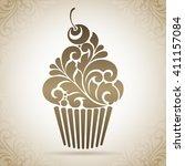 vector cupcake icon logo.... | Shutterstock .eps vector #411157084