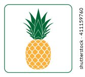 pineapple with leaf icon.... | Shutterstock .eps vector #411159760