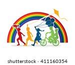 children running  friendship on ...   Shutterstock .eps vector #411160354