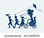 children running  friendship... | Shutterstock .eps vector #411160519