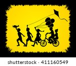 children running  friendship on ... | Shutterstock .eps vector #411160549