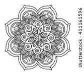 elegant floral mandala black on ...   Shutterstock .eps vector #411161596