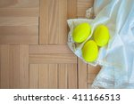 easter eggs on wooden... | Shutterstock . vector #411166513