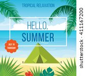 summer holidays vector... | Shutterstock .eps vector #411167200