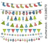 christmas flags and garland set.... | Shutterstock . vector #411168070