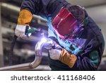 industrial worker with... | Shutterstock . vector #411168406