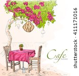 street cafe view with pink tree ... | Shutterstock .eps vector #411171016