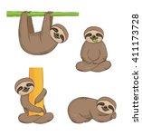 a set of cute cartoon smiling... | Shutterstock .eps vector #411173728