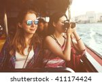 girls friendship hangout... | Shutterstock . vector #411174424