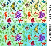 set of seamless patterns of... | Shutterstock . vector #411174868
