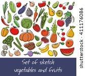 vector set of sketch fruit and...   Shutterstock .eps vector #411176086