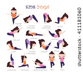 vector yoga kids collection.... | Shutterstock .eps vector #411181060