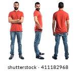 man wearing red polo shirt | Shutterstock . vector #411182968