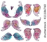 Set of illustrations with angel wings. Freehand drawing