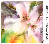 floral background. watercolor... | Shutterstock . vector #411193384
