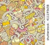 cartoon hand drawn ice cream... | Shutterstock .eps vector #411195658