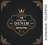 vintage frame label design for... | Shutterstock .eps vector #411195910