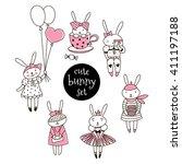 Set Of Cute Bunny Girl...