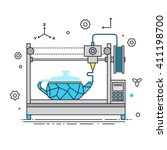 3d printer liner design vector... | Shutterstock .eps vector #411198700