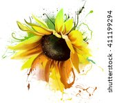 luxurious bright sunflower ... | Shutterstock . vector #411199294