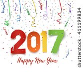 happy new year 2017 celebration ... | Shutterstock .eps vector #411199834