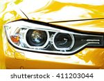 headlights of yellow car