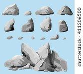 set of stones  rock elements... | Shutterstock .eps vector #411206500