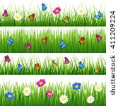 green grass with flowers and... | Shutterstock .eps vector #411209224
