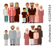 arabic family in traditional... | Shutterstock .eps vector #411209314