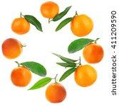 round frame made of tangerines... | Shutterstock . vector #411209590
