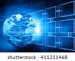 global networking concept of... | Shutterstock . vector #411211468