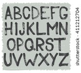 hand drawn brush alphabet of... | Shutterstock .eps vector #411212704