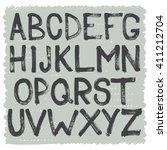 hand drawn brush alphabet of... | Shutterstock .eps vector #411212704
