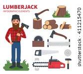 lumberjack character with...   Shutterstock .eps vector #411215470