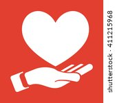 heart in hand icon on red... | Shutterstock .eps vector #411215968