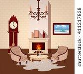 living room interior. room...   Shutterstock .eps vector #411217828
