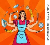 successful housewife.... | Shutterstock .eps vector #411217840