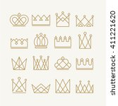 set of gold crown icons.... | Shutterstock .eps vector #411221620