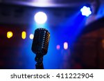 retro style microphone on stage ... | Shutterstock . vector #411222904