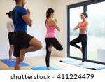 instructor with yoga class at... | Shutterstock . vector #411224479