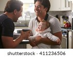 male gay couple holding baby... | Shutterstock . vector #411236506