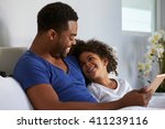 black father and daughter... | Shutterstock . vector #411239116