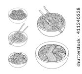 hand drawn noodles set asian... | Shutterstock .eps vector #411240328