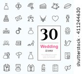 set of wedding icons for web or ... | Shutterstock .eps vector #411244630